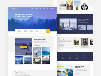 Travel Guide Website minimal logo gradient ux color app debut vector ui guidebook booking tour tourist journey mountain adventure website web guide travel
