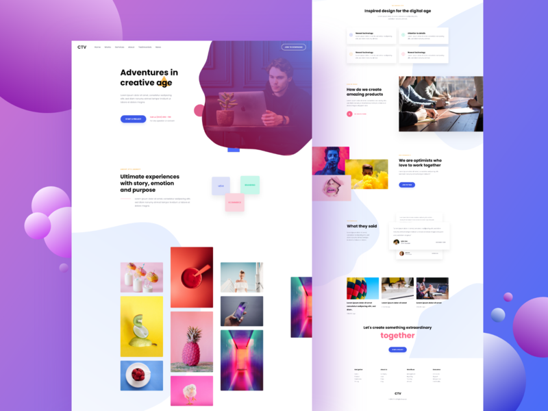 Creative Agency Landing Page ios mobile app dashboard ux ui minimal clean illustration animation branding color concept debut logo website web landingpage agency creative