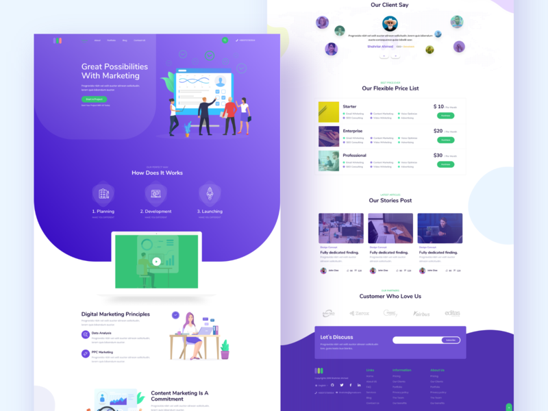 Digital Marketing Landing Page Light UI minimal illustration travel fashion ios mobile dashboard crypto seo debut hello app homepage ux ui website web landingpage marketing digital