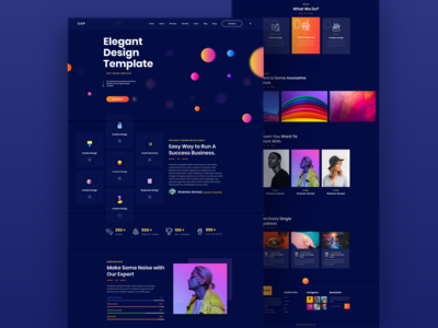 Elegant Design Template Landing Page Dark Ui