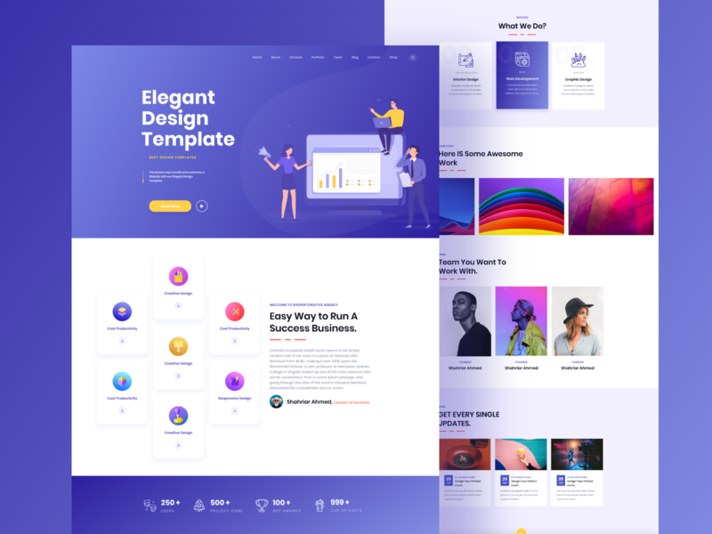 Elegant Design Template Light Ui typography debut hello agency icon dashboard landingpage gradient branding animation vector minimal logo illustration color ux app ui website web
