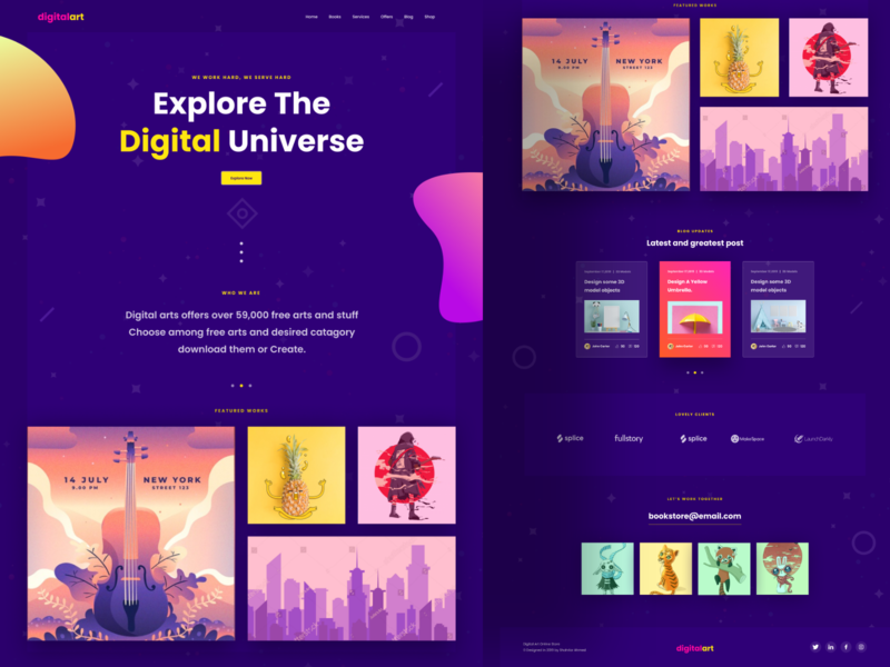 Digital Art Landing Page Dark Ui agency icon hello debut branding artwork art landingpage digital typography animation vector minimal logo color ux app website web ui