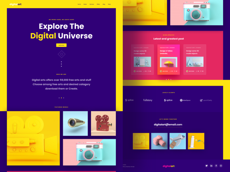 Digital Art Landing Page typography debut hello icon dashboard agency landingpage digital branding animation illustration vector minimal logo color ux app website web ui