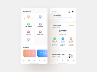 Mobile App Design Concept telecom operator typography design branding minimal color app ux debut ui