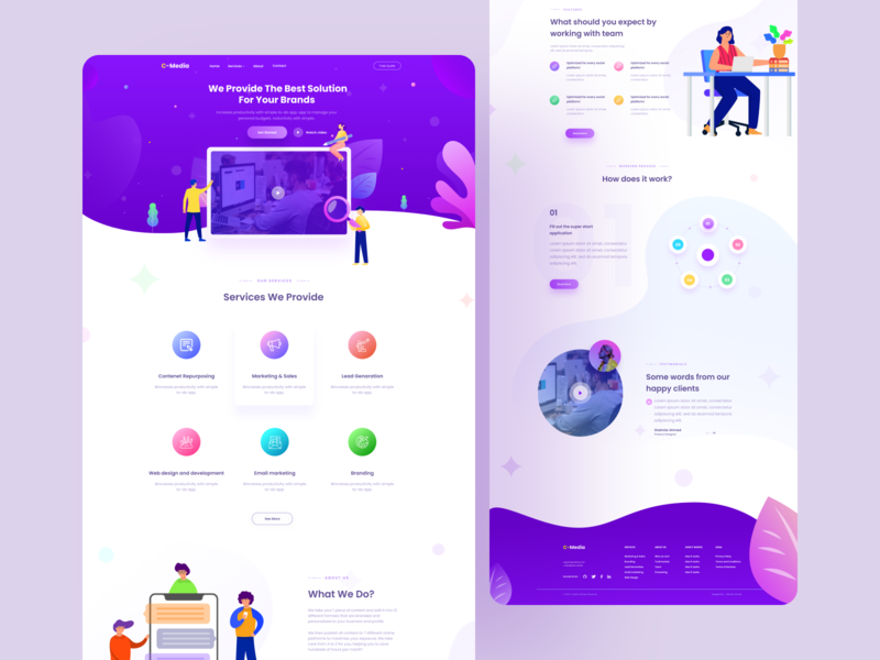Creative Agency Landing page logo icon animation minimal typography debut app ui illustration color design website web