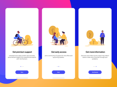App Screens Onboarding ux appscreen onboarding iphone mobiledesign uidesign android ios application mobile appdesign mobileapp ui illustration color app