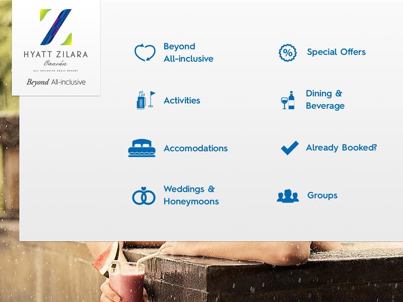 Hyatt Zilara Navigation dropdown travel icons ui navigation