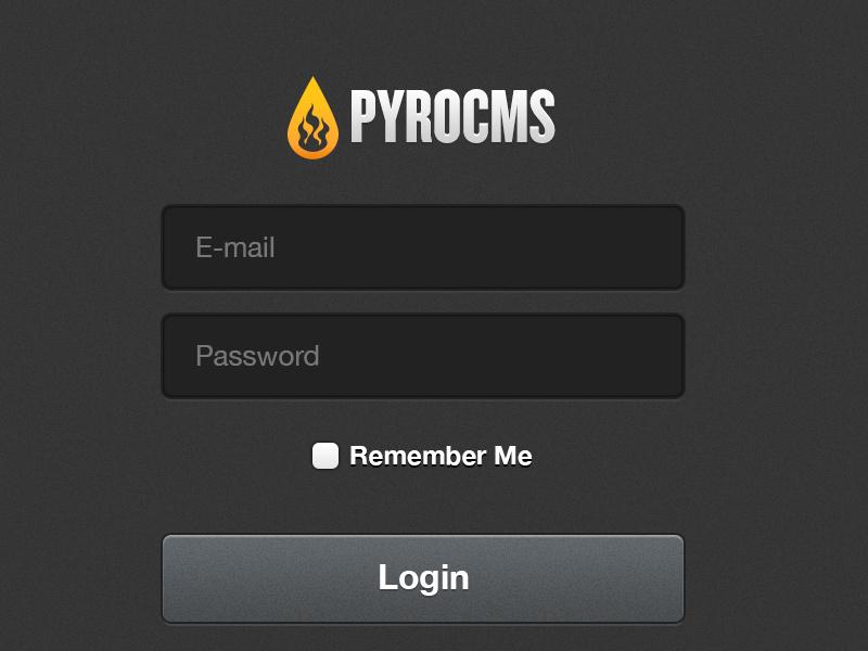 PyroCMS 2.2 login cms button login noise texture pyro css3 shading shadows