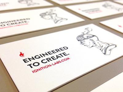 Letterpress Business Card letterpress deboss blind relief simple ignition labs fresno design print illustration spot color local buylocal