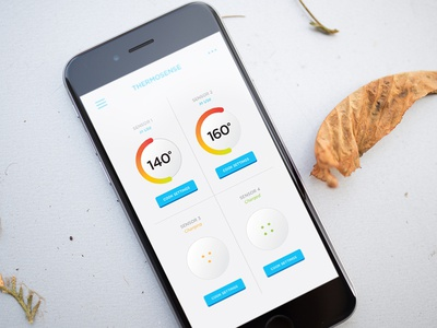 Thermosense idea thermometer app sensors bamboo quirky product design ui