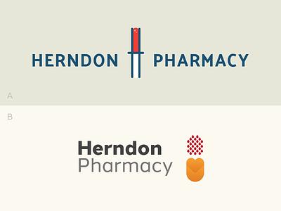 A or B? fresno hundred10 design pill blood pharmacy identity logo