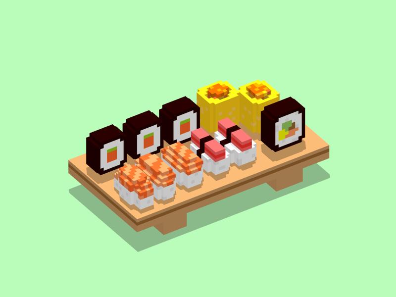 Voxel Sushi voxel food sushi magicavoxel