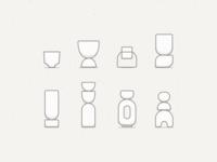 Ceramic Forms: Planters forms sketch linework simple minimal illustration pottery stoneware planters ceramics