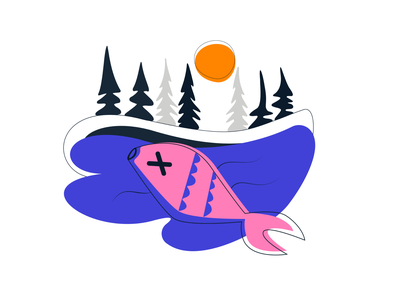 Dead fish in the lake illustration 2021 wwf nature protection vector nature illustrator illustration forest
