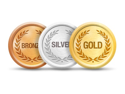 Gold, Silver, Bronze awards icons icon awards medals