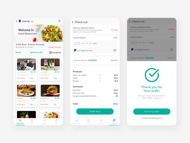 Food App UI Design delivery ux food design app dribbble ui design