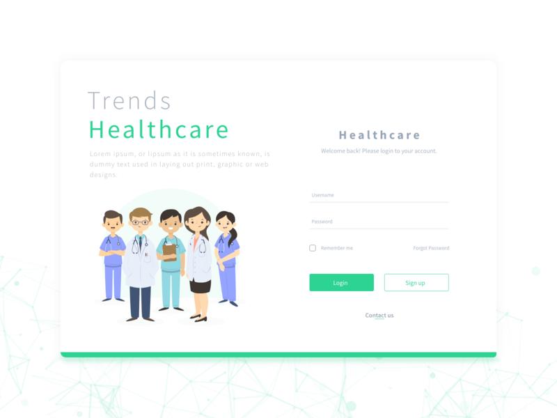 Healthcare Web Login Page UI Design applicaiton branding doctor web webdesign landing design app dribbble ux ui design