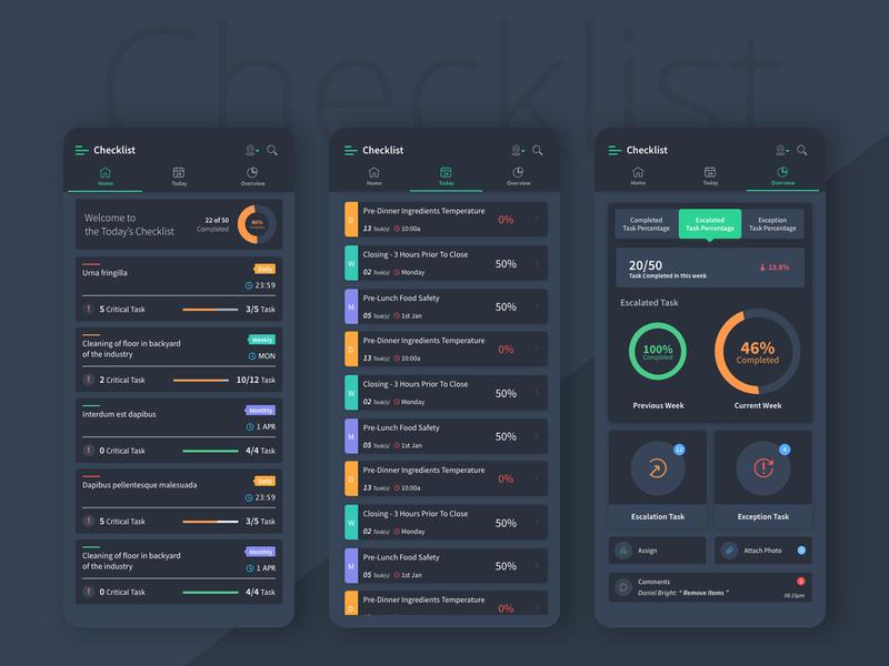 Checklist UI Design Dark Mode applicaiton appstore design app dribbble ux ui design