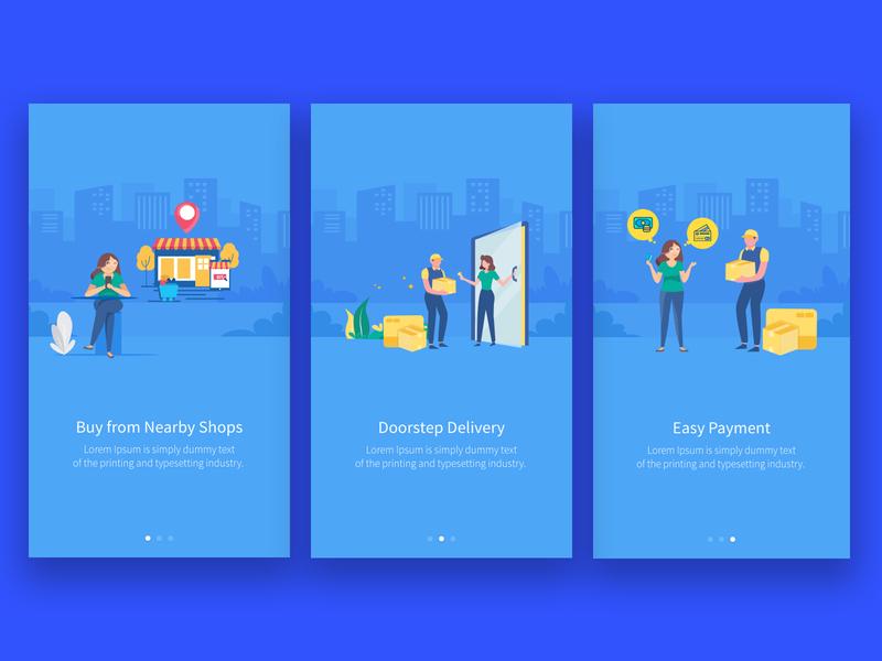 Online Order Onboarding Screen delivery grocery design app illustration food dribbble appstore design dailyui ux ui onboarding