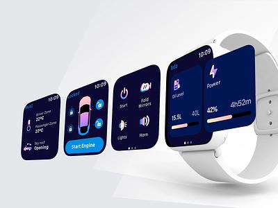 Car climate control Apple watch concept remote smart watch ios ui design illustration app