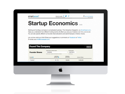 Startup Economics startup economics infographic info graphic interactive ui ux user interface user experience calculator tool equity