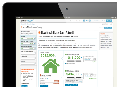 """SmartAsset """"How Much Home Can I Afford?"""" web app website product design ux ui user experience"""