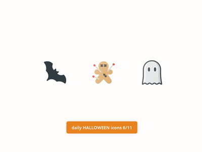 Daily Halloween Icons 6/11 paper color flat icons free set icon pack ghost bat voodoo doll halloween