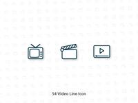 54 Video Vector Line Icon