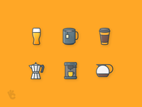 30 Drinks Outline Color Icons