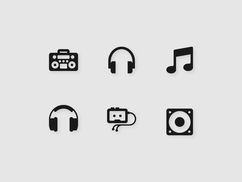 65 Music & Audio Vector Glyph Icon walkman audio retro set solid music radio glyph icons icon