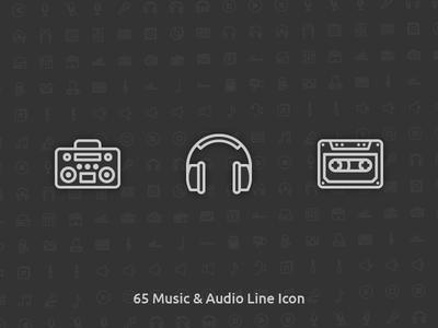 65 Music & Audio Vector Line Icon