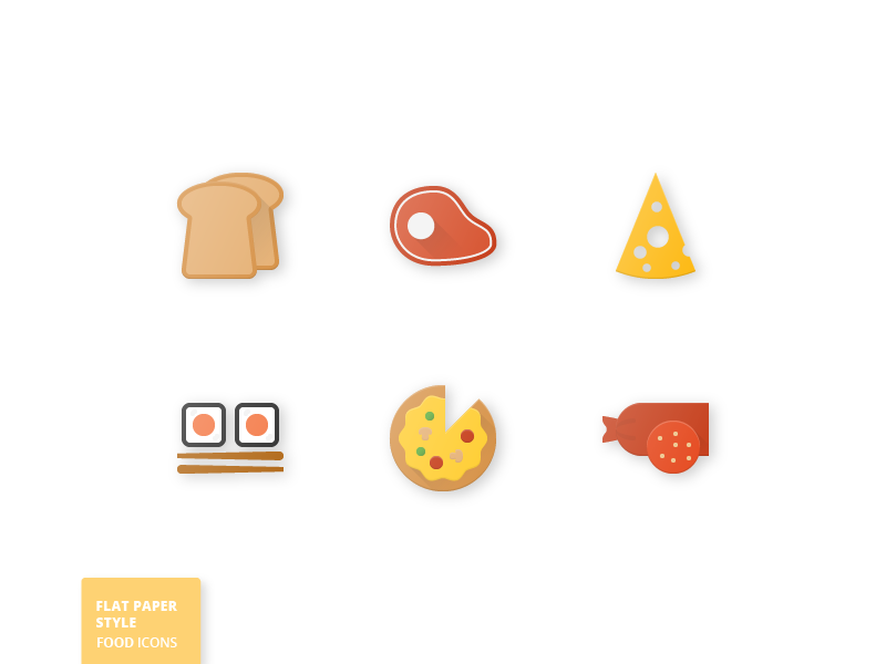 42 Food Flat Paper Icons bread sushi cheese pizza food paper flat icons icon