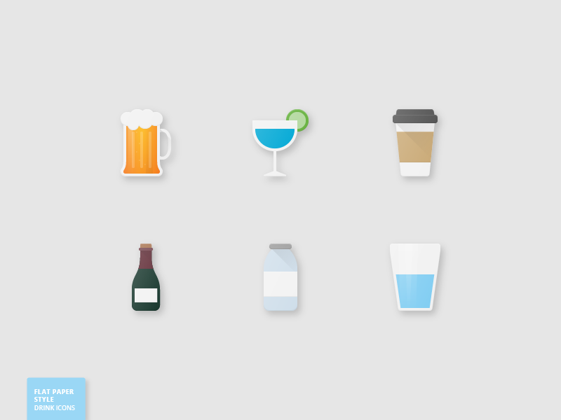 28 Drink Flat Paper Icons milk coffee wine water beer drink paper flat icons icon