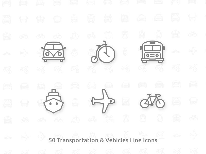 50 Transportation & Vehicles Line Icons plane retro van bicycle car transportation stroke line icons icon