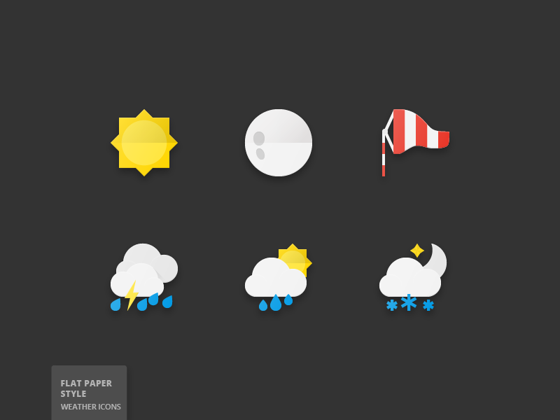 50 Weather Flat Paper Icons forecast wind cloud weather moon sun paper flat icons icon