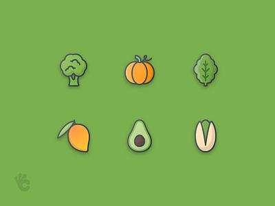 50 Fruits & Vegetables Outline Color Icon pumpkin avocado seeds vegetable fruit set outline color icons icon