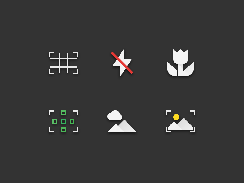 57 Photography & Image Flat Paper Icons settings focus grid macro image photography paper flat icons icon