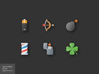 17 Objects Flat Parer Icons