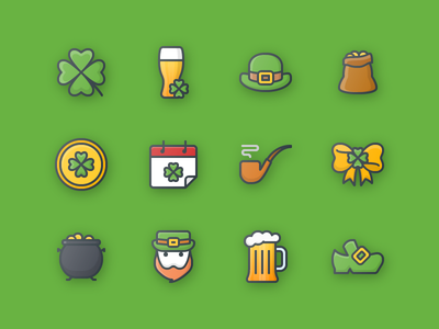 22 St. Patrick's Day Free Icon luck clover beer hat leprechaun bow gold st. patrick day outline color icons icon