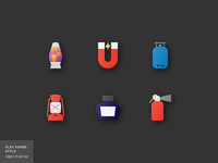 18 Objects Flat Parer Icons