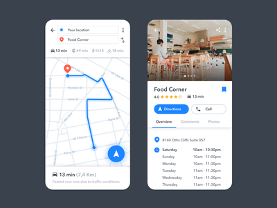 📍Google Maps Redesign design sketch redesign challenge map directions android google maps google maps app ui design