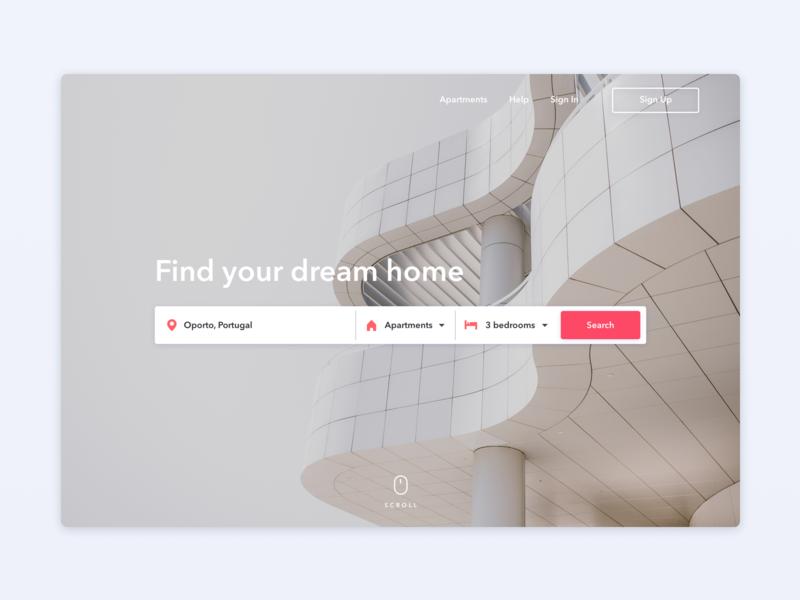 🔍Real Estate - Landing page landing page home header ui design homepage search real estate