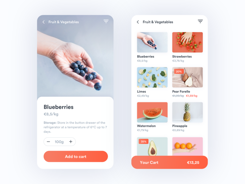 🍉 Groceries Shopping App challenge ui design filters discount fruits food shopping cart android groceries app supermarket app shopping app shopping groceries