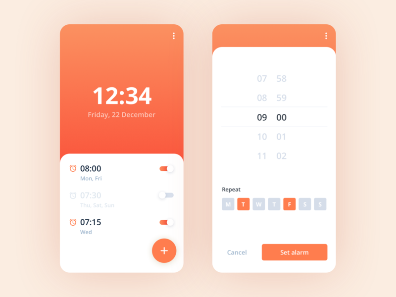 Alarm Clock App time hours set alarm challenge orange ui design mobile app clocks alarm alarm clock