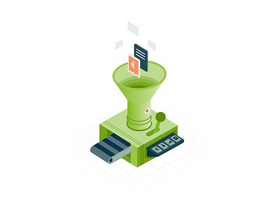 FastBill - Premium Machine machine paperwork illustration design receipt invoice taxes fastbill isometric illustration