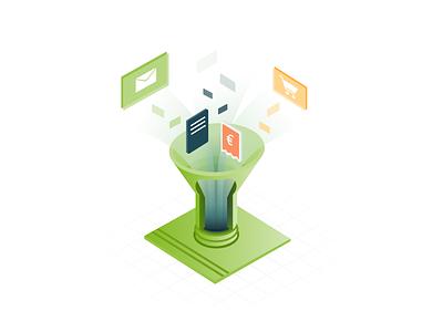 FastBill - Premium Machine - Sources isometric design isometric illustration funnel online shop mail app receipt fastbill
