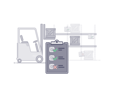 Warehouse White List shelve storage truck forklift package list