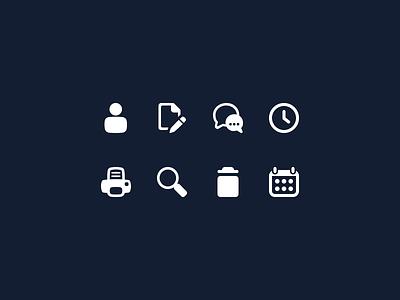 Ui Icons icons icon set ui user notes chat clock print search trash delete calendar