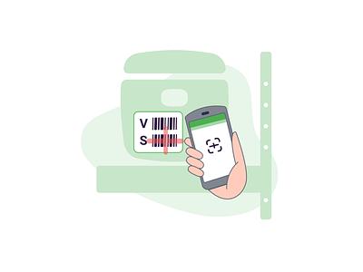 MDE Illustration - Box Scan mobile shelve scan label box