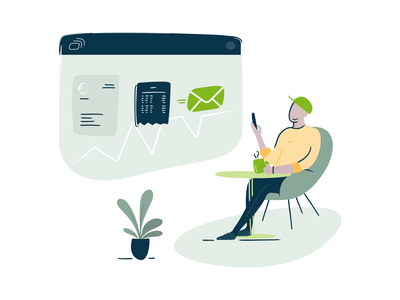 FastBill - Your Business Under Control plant taxes tax freelancer business finances relax coffee illustration invoice mail bills application mobile